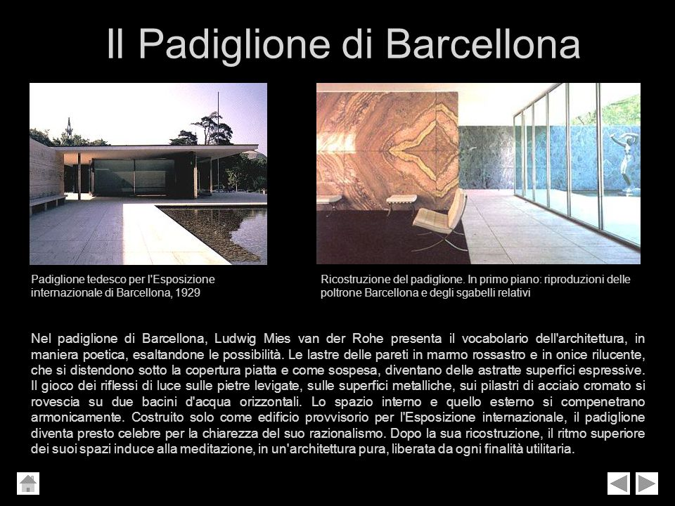 Il Padiglione di Barcellona Padiglione tedesco per l'Esposizione internazionale di Barcellona, 1929 Ricostruzione del padiglione. In primo piano: ripr