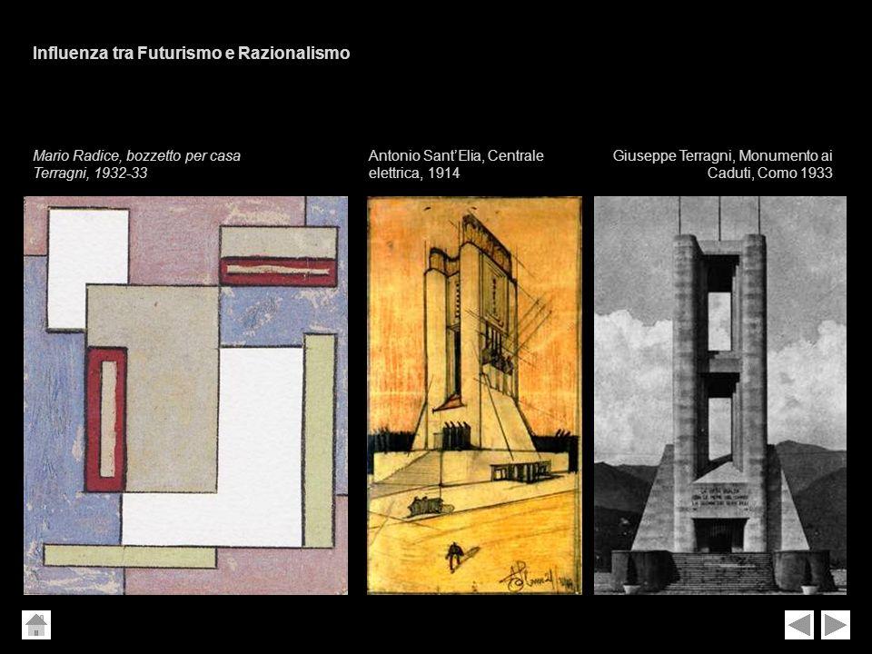 Antonio SantElia, Centrale elettrica, 1914 Giuseppe Terragni, Monumento ai Caduti, Como 1933 Mario Radice, bozzetto per casa Terragni, 1932-33 Influen