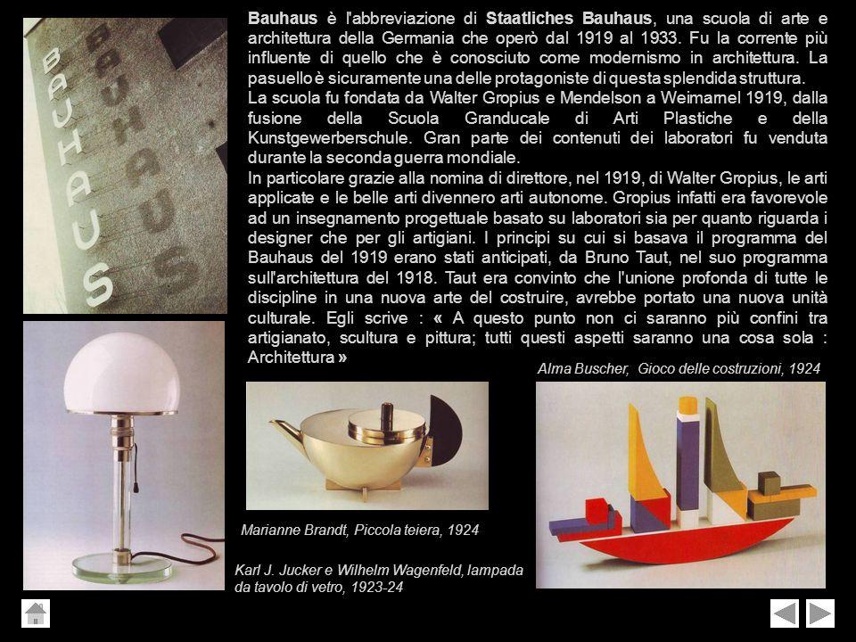 Bauhaus è l'abbreviazione di Staatliches Bauhaus, una scuola di arte e architettura della Germania che operò dal 1919 al 1933. Fu la corrente più infl