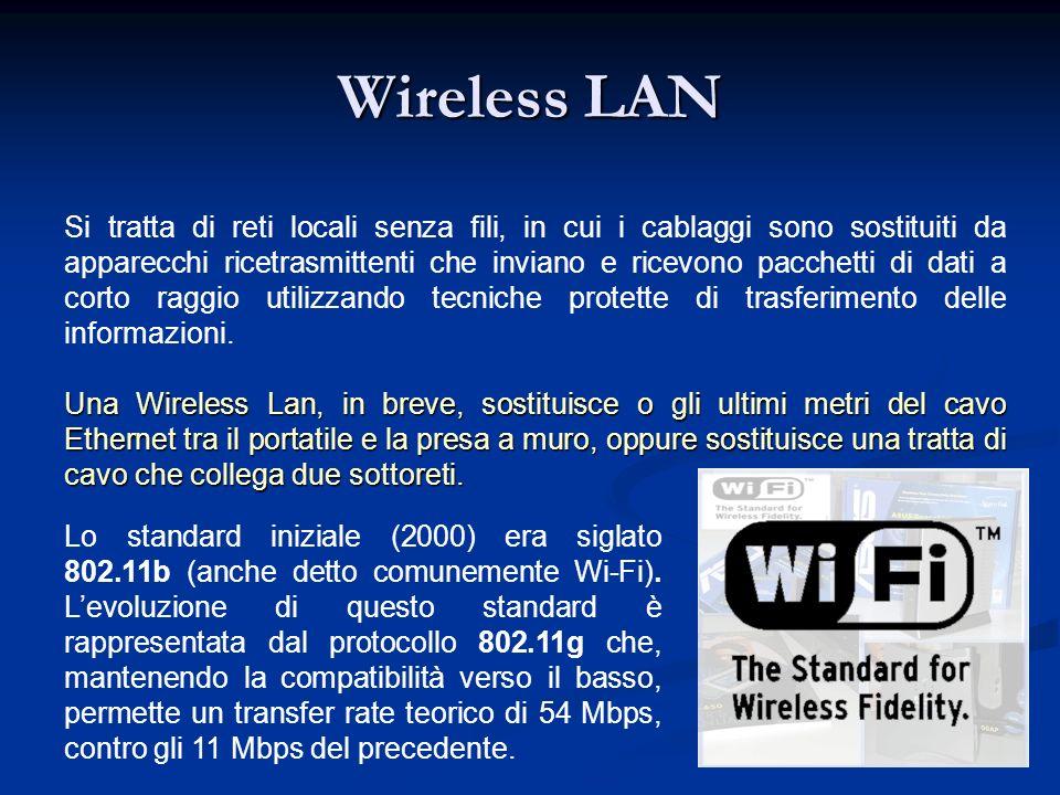 Wireless LAN Si tratta di reti locali senza fili, in cui i cablaggi sono sostituiti da apparecchi ricetrasmittenti che inviano e ricevono pacchetti di