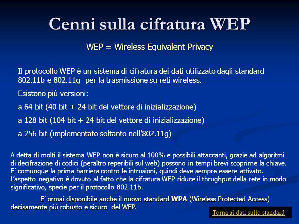 Cenni sulla cifratura WEP WEP = Wireless Equivalent Privacy Il protocollo WEP è un sistema di cifratura dei dati utilizzato dagli standard 802.11b e 8