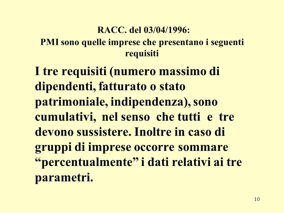 10 RACC. del 03/04/1996: PMI sono quelle imprese che presentano i seguenti requisiti I tre requisiti (numero massimo di dipendenti, fatturato o stato