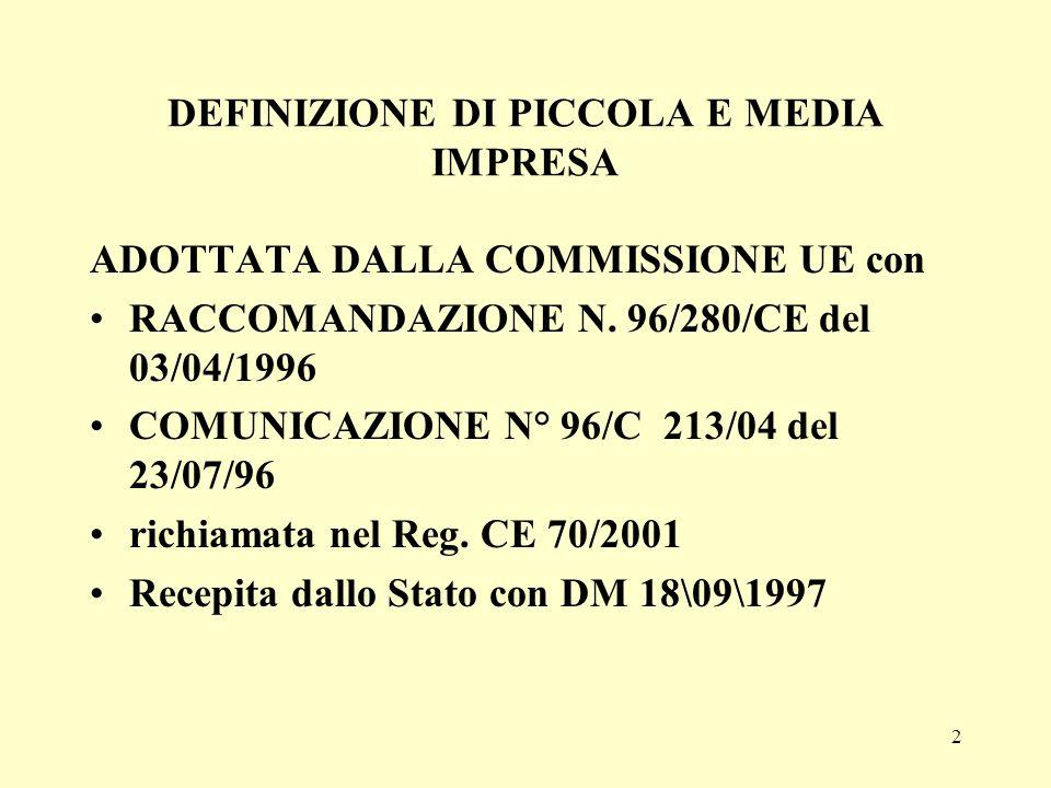 2 DEFINIZIONE DI PICCOLA E MEDIA IMPRESA ADOTTATA DALLA COMMISSIONE UE con RACCOMANDAZIONE N. 96/280/CE del 03/04/1996 COMUNICAZIONE N° 96/C 213/04 de