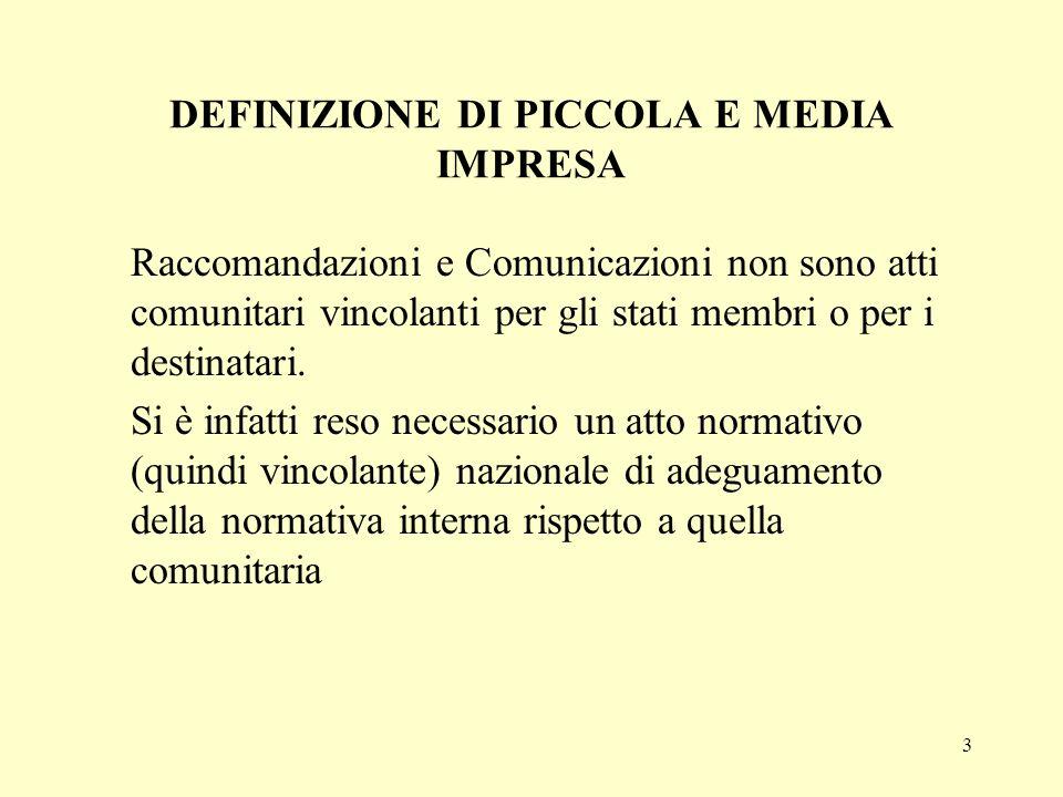 3 DEFINIZIONE DI PICCOLA E MEDIA IMPRESA Raccomandazioni e Comunicazioni non sono atti comunitari vincolanti per gli stati membri o per i destinatari.