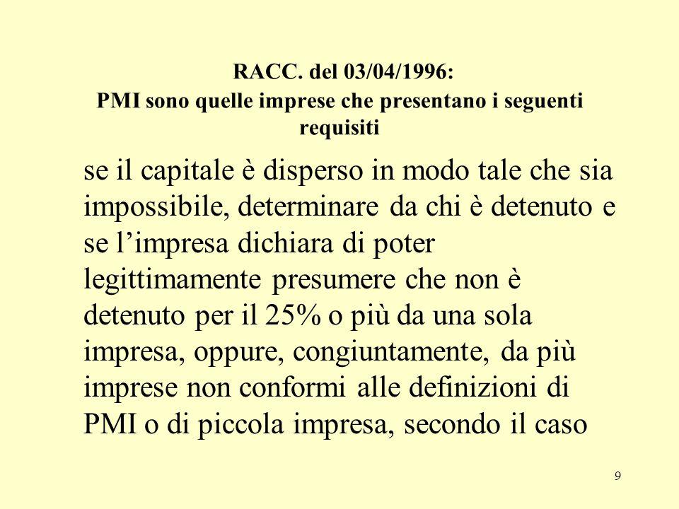 9 RACC. del 03/04/1996: PMI sono quelle imprese che presentano i seguenti requisiti se il capitale è disperso in modo tale che sia impossibile, determ