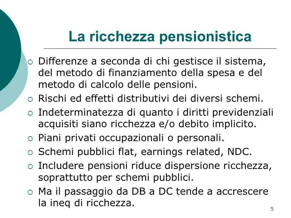 La ricchezza pensionistica Differenze a seconda di chi gestisce il sistema, del metodo di finanziamento della spesa e del metodo di calcolo delle pens