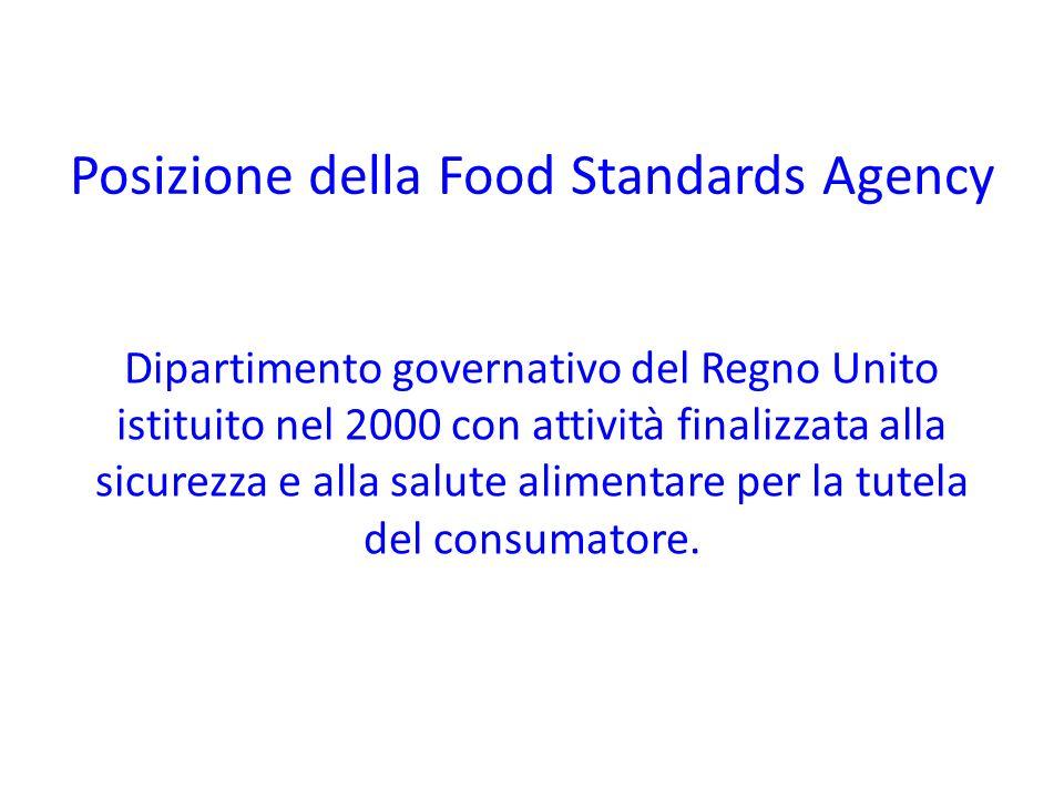 Posizione della Food Standards Agency Dipartimento governativo del Regno Unito istituito nel 2000 con attività finalizzata alla sicurezza e alla salut
