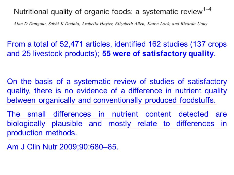 From a total of 52,471 articles, identified 162 studies (137 crops and 25 livestock products); 55 were of satisfactory quality. On the basis of a syst