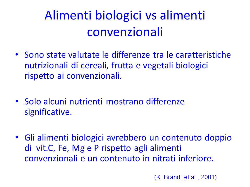 Alimenti biologici vs alimenti convenzionali Sono state valutate le differenze tra le caratteristiche nutrizionali di cereali, frutta e vegetali biolo