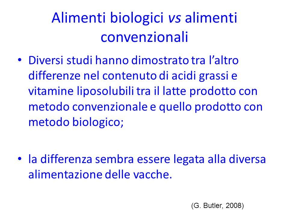 Alimenti biologici vs alimenti convenzionali Diversi studi hanno dimostrato tra laltro differenze nel contenuto di acidi grassi e vitamine liposolubil