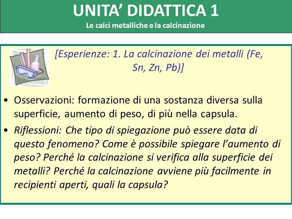 [Esperienze: 1. La calcinazione dei metalli (Fe, Sn, Zn, Pb)] Osservazioni: formazione di una sostanza diversa sulla superficie, aumento di peso, di p