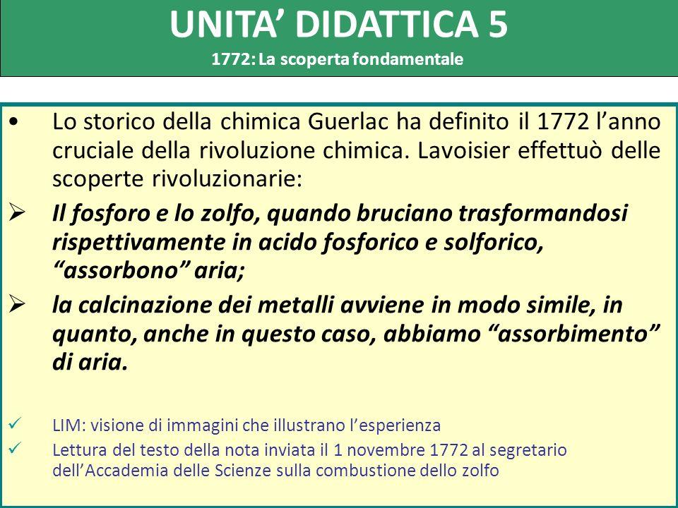 Lo storico della chimica Guerlac ha definito il 1772 lanno cruciale della rivoluzione chimica. Lavoisier effettuò delle scoperte rivoluzionarie: Il fo