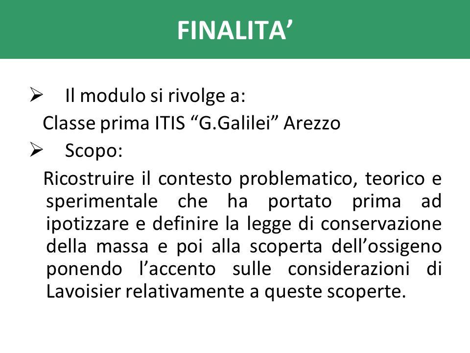 FINALITA Il modulo si rivolge a: Classe prima ITIS G.Galilei Arezzo Scopo: Ricostruire il contesto problematico, teorico e sperimentale che ha portato