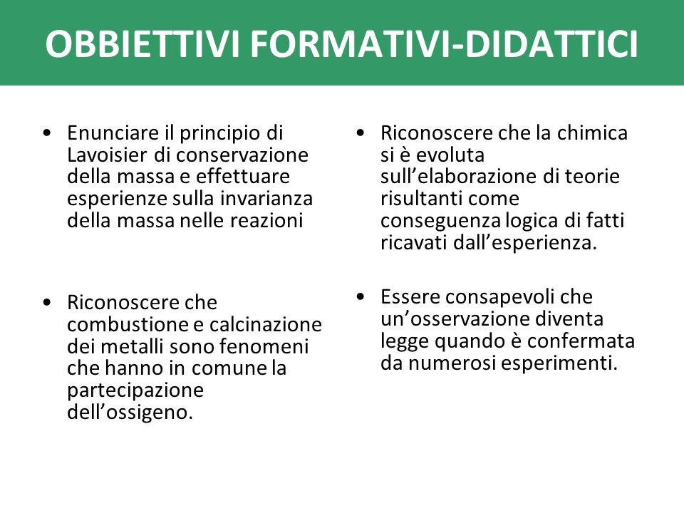 OBBIETTIVI FORMATIVI-DIDATTICI Enunciare il principio di Lavoisier di conservazione della massa e effettuare esperienze sulla invarianza della massa n