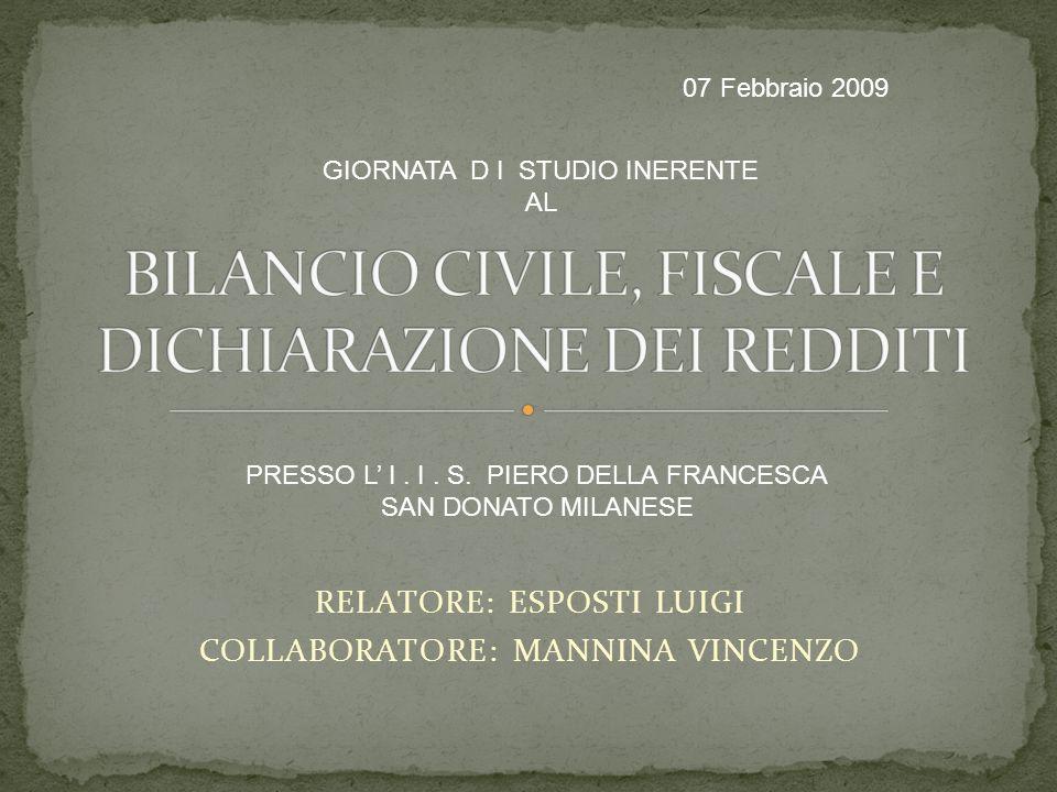 RELATORE: ESPOSTI LUIGI COLLABORATORE: MANNINA VINCENZO GIORNATA D I STUDIO INERENTE AL PRESSO L I.