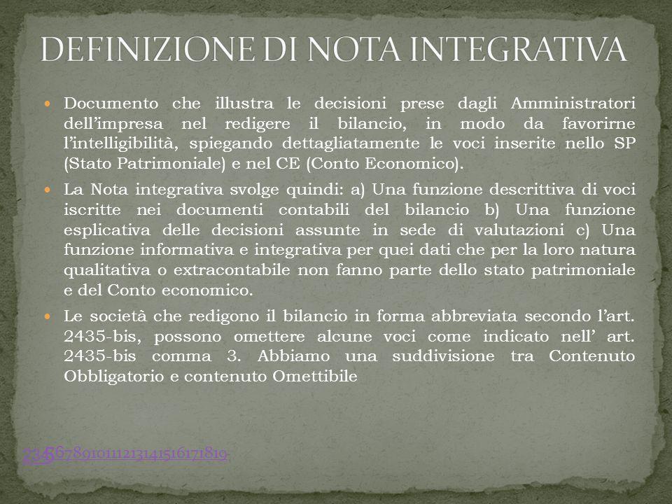 Documento che illustra le decisioni prese dagli Amministratori dellimpresa nel redigere il bilancio, in modo da favorirne lintelligibilità, spiegando dettagliatamente le voci inserite nello SP (Stato Patrimoniale) e nel CE (Conto Economico).