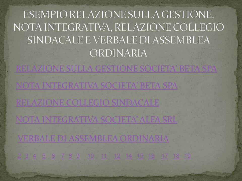 NOTA INTEGRATIVA SOCIETA ALFA SRL NOTA INTEGRATIVA SOCIETA BETA SPA RELAZIONE SULLA GESTIONE SOCIETA BETA SPA 56789101112141516171819234 RELAZIONE COLLEGIO SINDACALE VERBALE DI ASSEMBLEA ORDINARIA