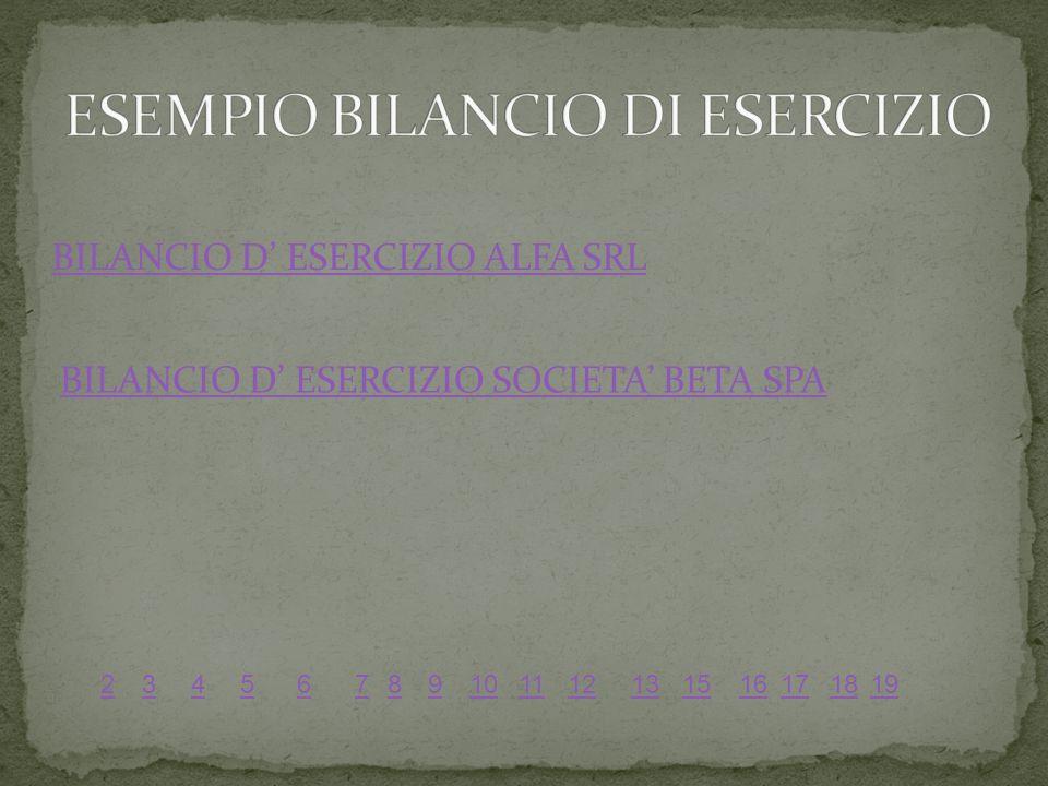 BILANCIO D ESERCIZIO ALFA SRL BILANCIO D ESERCIZIO SOCIETA BETA SPA 56789101112131516171819234