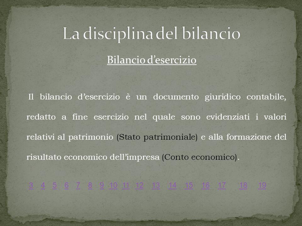 Bilancio desercizio Il bilancio desercizio è un documento giuridico contabile, redatto a fine esercizio nel quale sono evidenziati i valori relativi al patrimonio (Stato patrimoniale) e alla formazione del risultato economico dellimpresa (Conto economico).