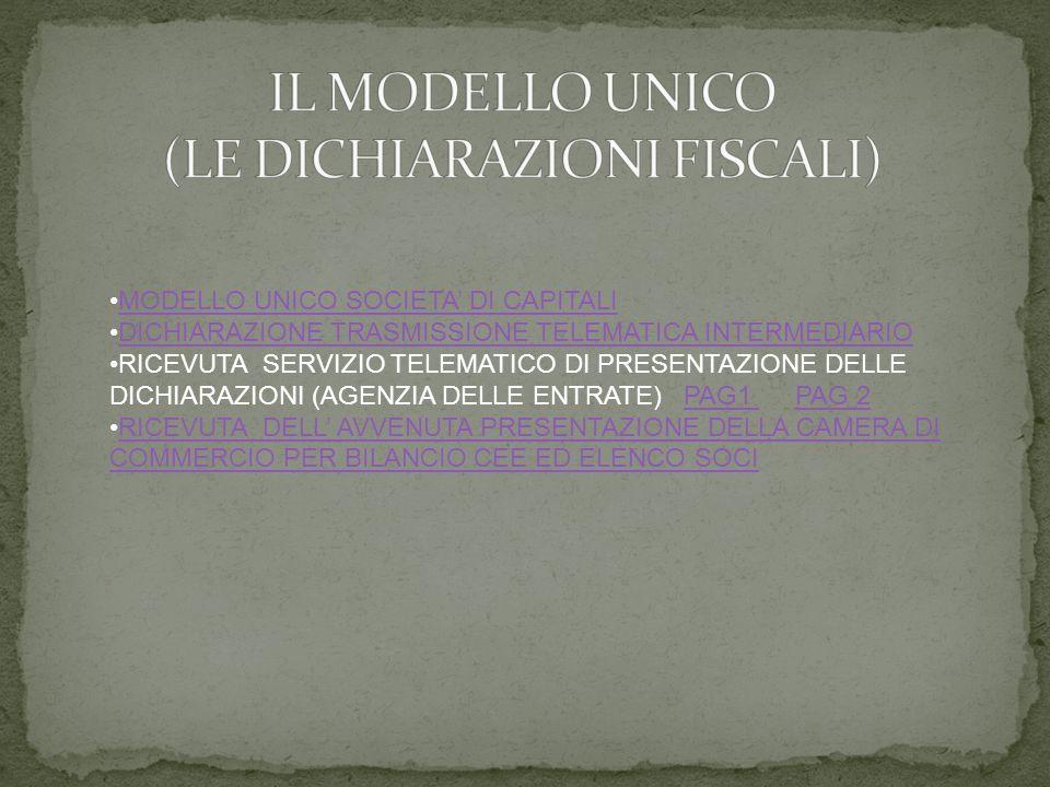 MODELLO UNICO SOCIETA DI CAPITALI DICHIARAZIONE TRASMISSIONE TELEMATICA INTERMEDIARIO RICEVUTA SERVIZIO TELEMATICO DI PRESENTAZIONE DELLE DICHIARAZIONI (AGENZIA DELLE ENTRATE) PAG1 PAG 2PAG1 PAG 2 RICEVUTA DELL AVVENUTA PRESENTAZIONE DELLA CAMERA DI COMMERCIO PER BILANCIO CEE ED ELENCO SOCIRICEVUTA DELL AVVENUTA PRESENTAZIONE DELLA CAMERA DI COMMERCIO PER BILANCIO CEE ED ELENCO SOCI