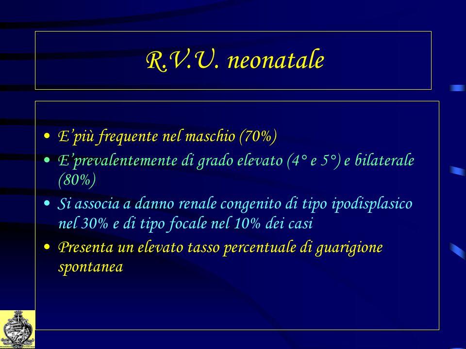 R.V.U. neonatale Epiù frequente nel maschio (70%) Eprevalentemente di grado elevato (4° e 5°) e bilaterale (80%) Si associa a danno renale congenito d