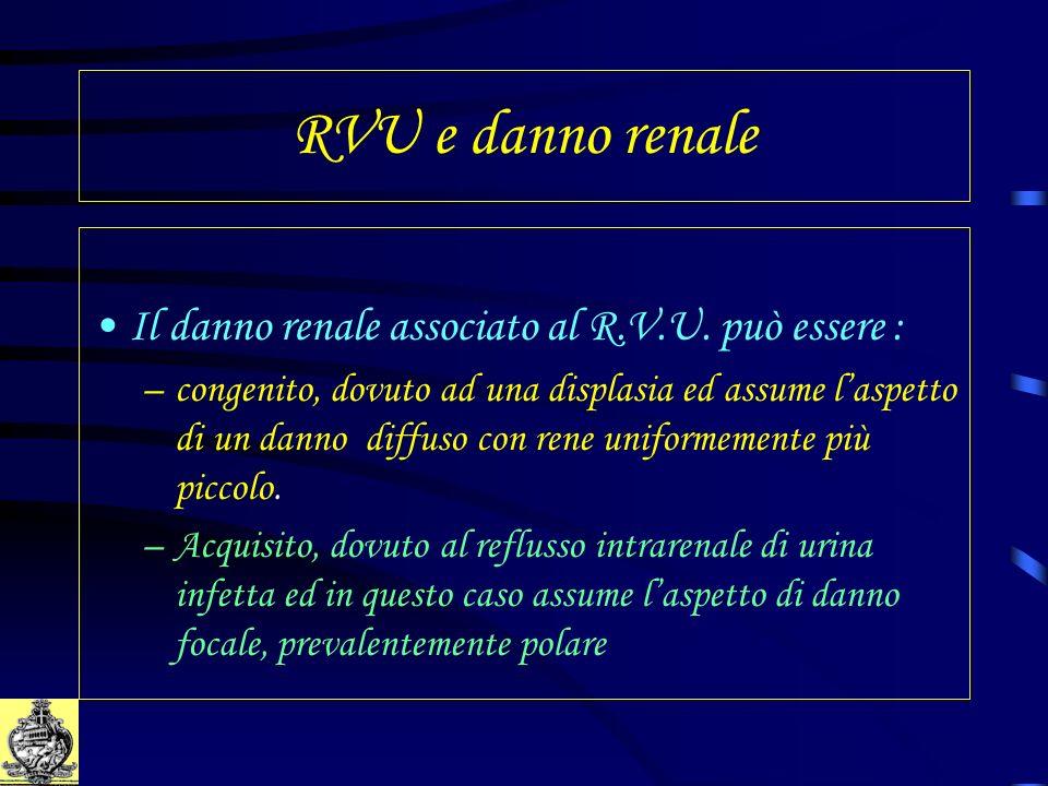 RVU e danno renale Il danno renale associato al R.V.U. può essere : –congenito, dovuto ad una displasia ed assume laspetto di un danno diffuso con ren