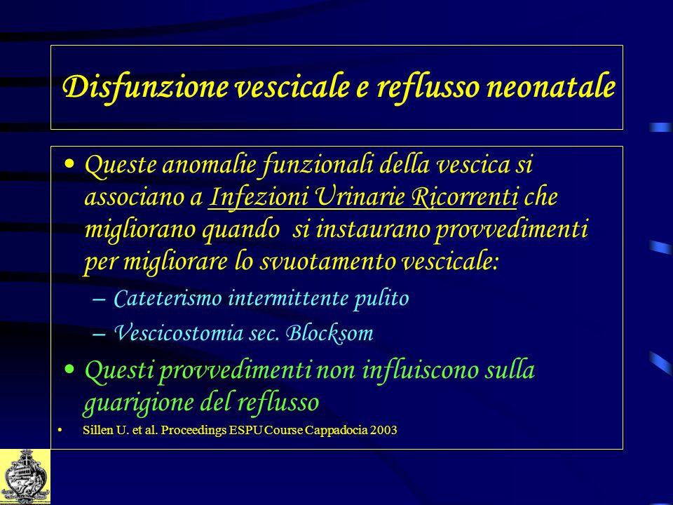 Disfunzione vescicale e reflusso neonatale Queste anomalie funzionali della vescica si associano a Infezioni Urinarie Ricorrenti che migliorano quando