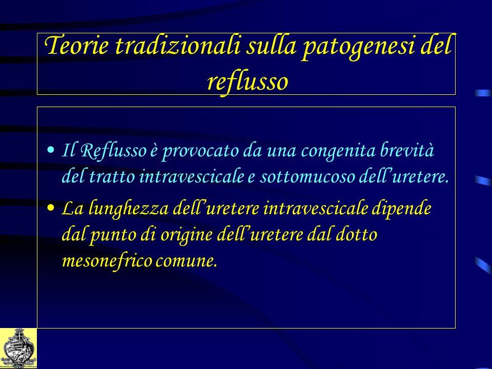 Teorie tradizionali sulla patogenesi del reflusso Il Reflusso è provocato da una congenita brevità del tratto intravescicale e sottomucoso delluretere