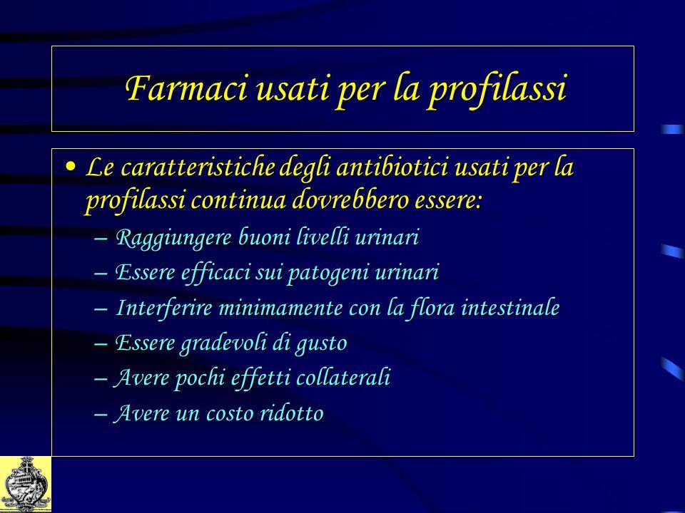 Farmaci usati per la profilassi Le caratteristiche degli antibiotici usati per la profilassi continua dovrebbero essere:Le caratteristiche degli antib