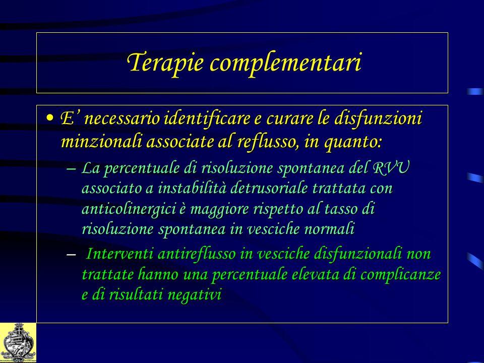 Terapie complementari E necessario identificare e curare le disfunzioni minzionali associate al reflusso, in quanto:E necessario identificare e curare