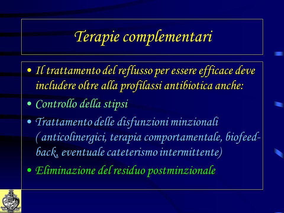 Terapie complementari Il trattamento del reflusso per essere efficace deve includere oltre alla profilassi antibiotica anche:Il trattamento del reflus