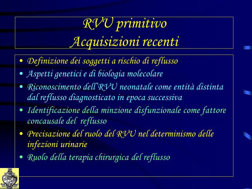 RVU primitivo Acquisizioni recenti Definizione dei soggetti a rischio di reflusso Aspetti genetici e di biologia molecolare Riconoscimento dellRVU neo