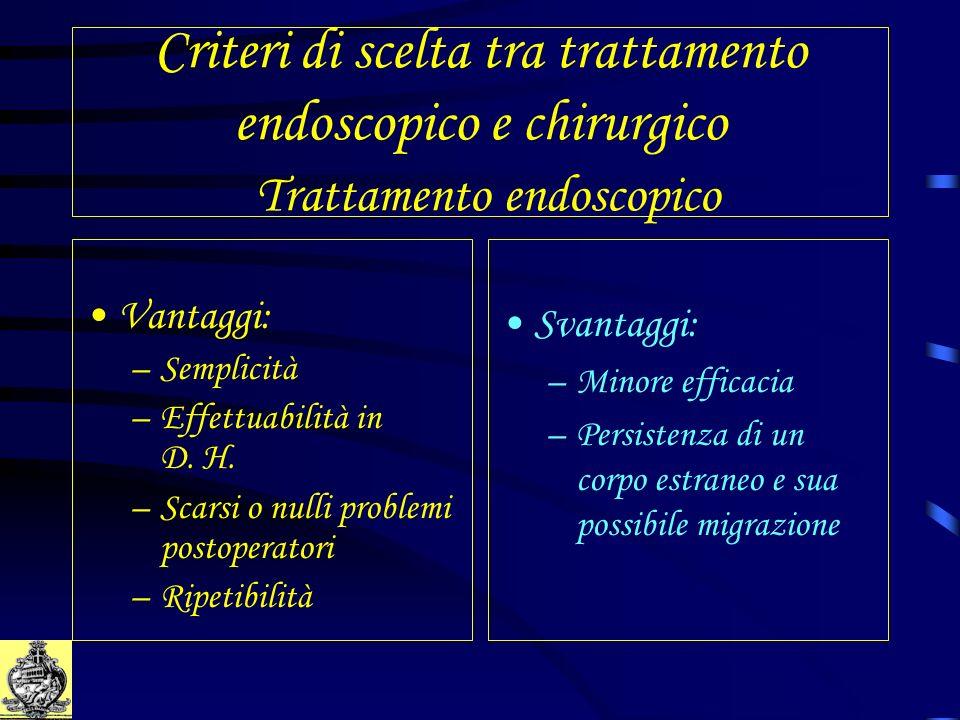 Criteri di scelta tra trattamento endoscopico e chirurgico Trattamento endoscopico Vantaggi: –Semplicità –Effettuabilità in D. H. –Scarsi o nulli prob