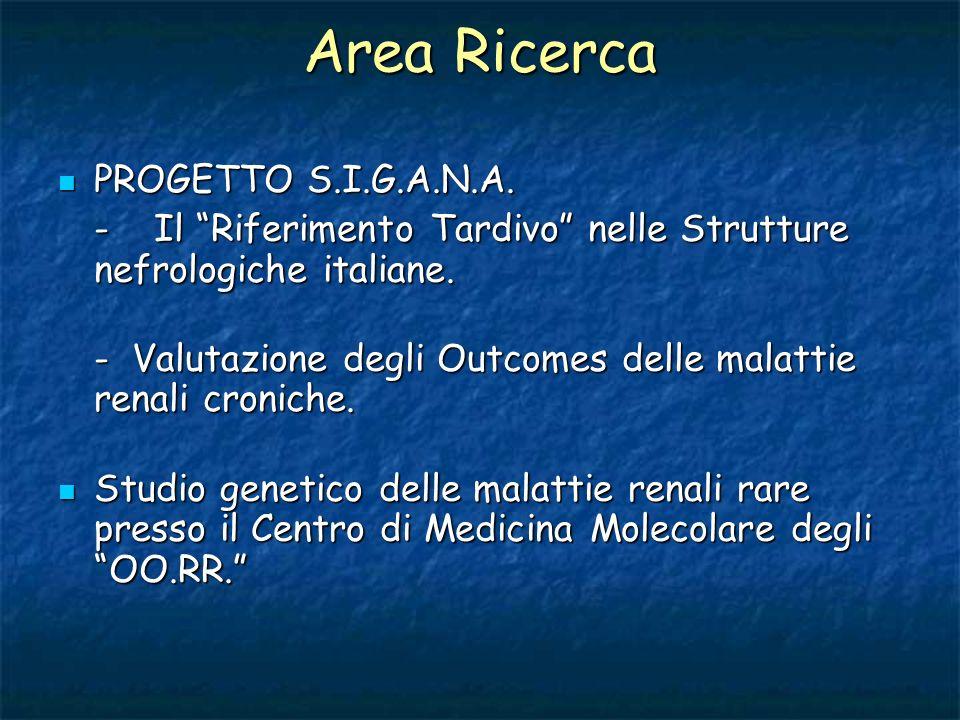 Area Ricerca PROGETTO S.I.G.A.N.A. PROGETTO S.I.G.A.N.A. -Il Riferimento Tardivo nelle Strutture nefrologiche italiane. - Valutazione degli Outcomes d