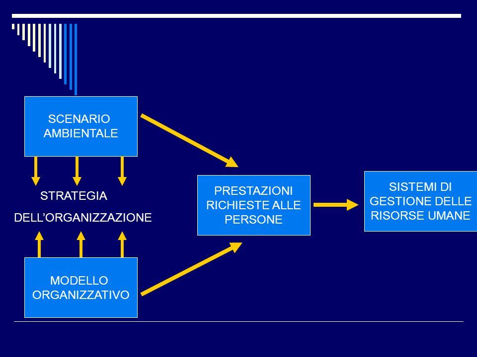 SCENARIO AMBIENTALE MODELLO ORGANIZZATIVO PRESTAZIONI RICHIESTE ALLE PERSONE SISTEMI DI GESTIONE DELLE RISORSE UMANE STRATEGIA DELLORGANIZZAZIONE