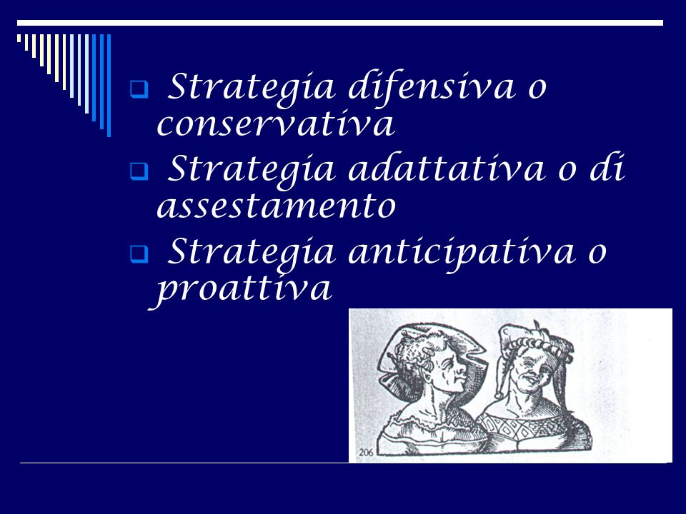 Strategia difensiva o conservativa Strategia adattativa o di assestamento Strategia anticipativa o proattiva