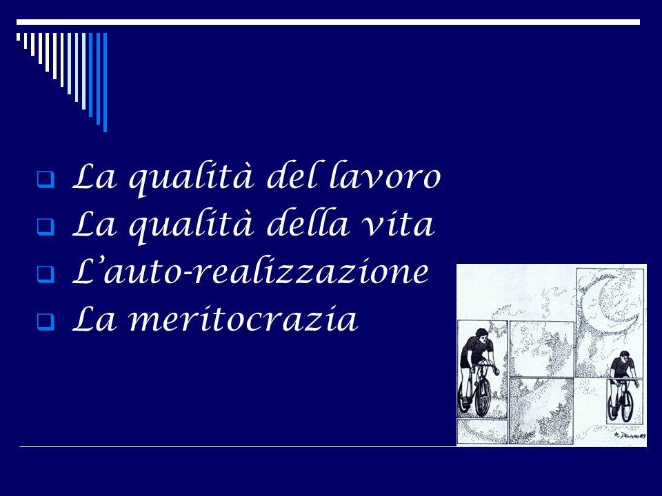 La qualità del lavoro La qualità della vita Lauto-realizzazione La meritocrazia