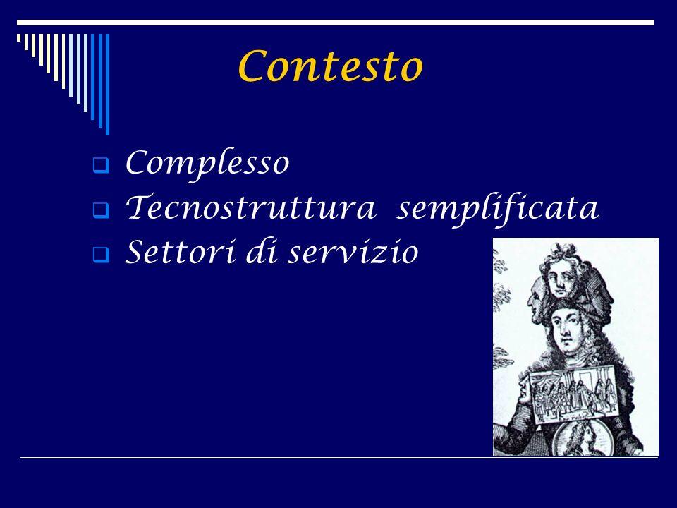Contesto Complesso Tecnostruttura semplificata Settori di servizio