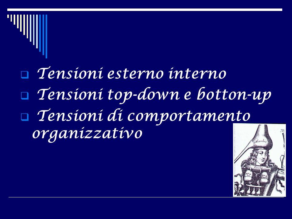 Tensioni esterno interno Tensioni top-down e botton-up Tensioni di comportamento organizzativo