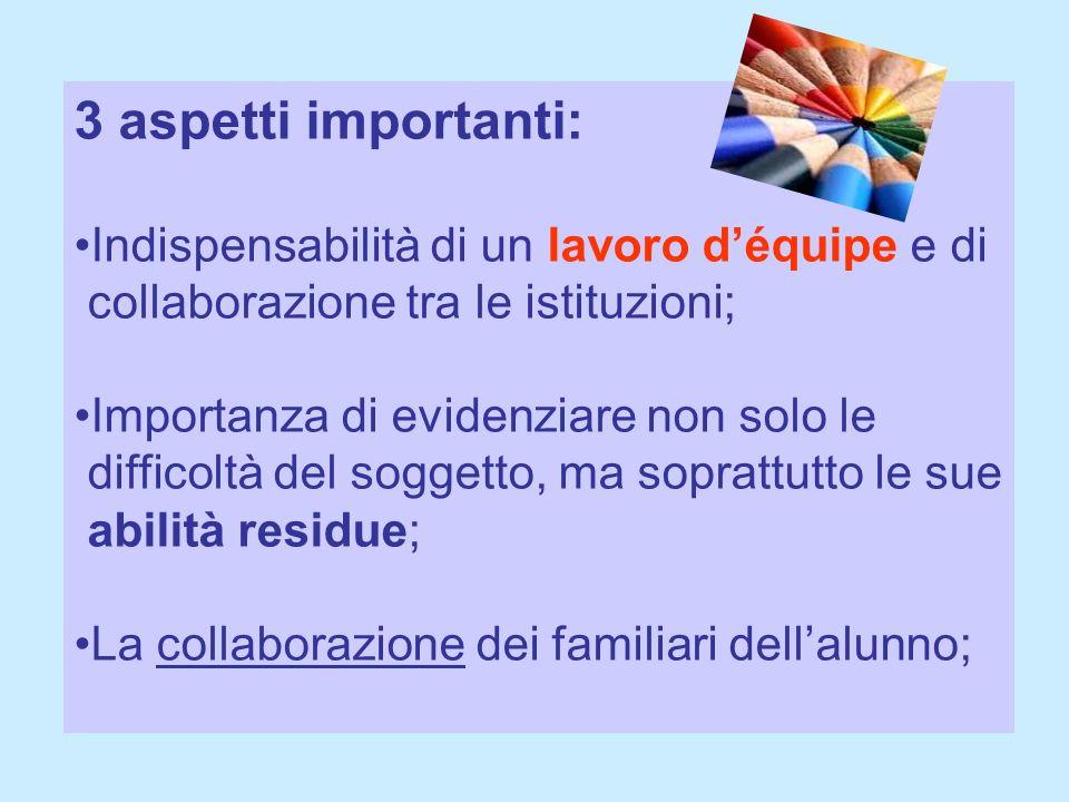 3 aspetti importanti: Indispensabilità di un lavoro déquipe e di collaborazione tra le istituzioni; Importanza di evidenziare non solo le difficoltà d