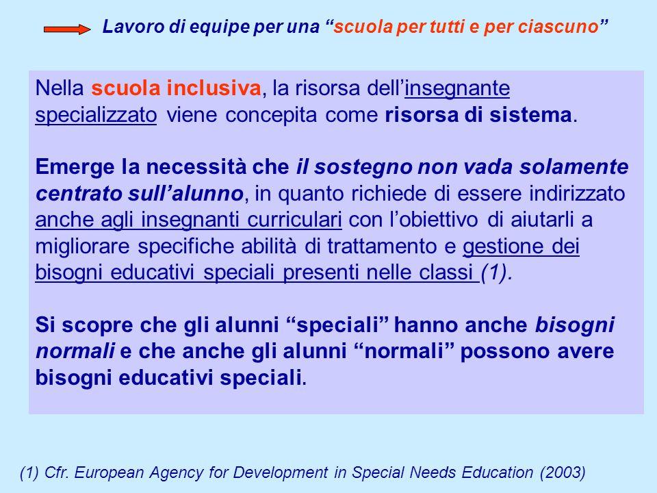 Nella scuola inclusiva, la risorsa dellinsegnante specializzato viene concepita come risorsa di sistema. Emerge la necessità che il sostegno non vada