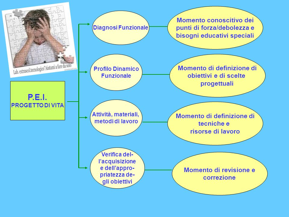 P.E.I. PROGETTO DI VITA Diagnosi Funzionale Profilo Dinamico Funzionale Attività, materiali, metodi di lavoro Verifica del- lacquisizione e dellappro-