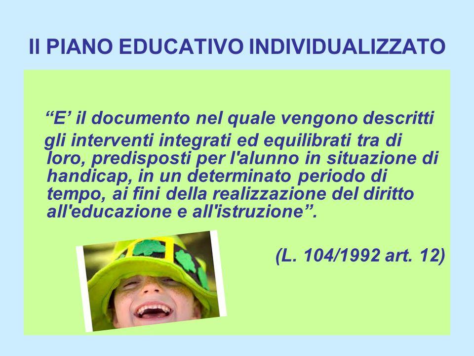 Il PIANO EDUCATIVO INDIVIDUALIZZATO E il documento nel quale vengono descritti gli interventi integrati ed equilibrati tra di loro, predisposti per l'