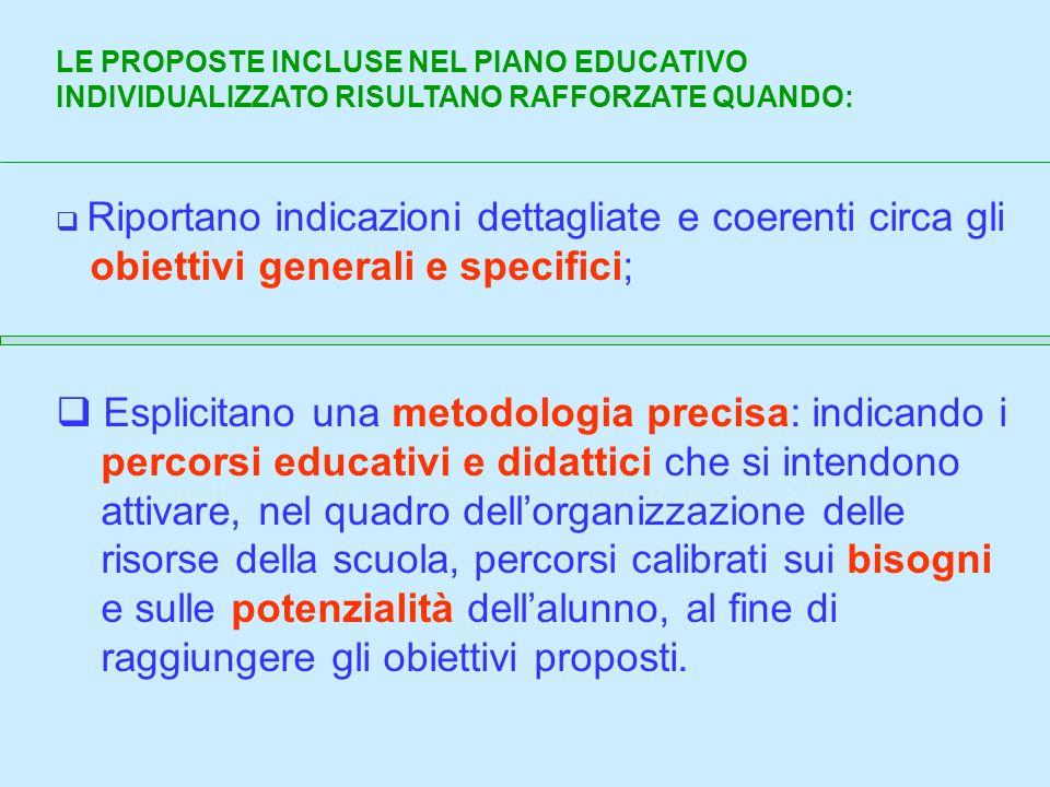LE PROPOSTE INCLUSE NEL PIANO EDUCATIVO INDIVIDUALIZZATO RISULTANO RAFFORZATE QUANDO: Riportano indicazioni dettagliate e coerenti circa gli obiettivi