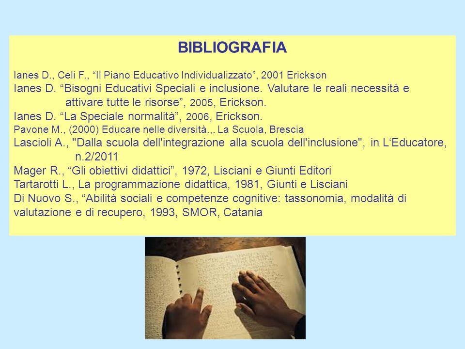BIBLIOGRAFIA Ianes D., Celi F., Il Piano Educativo Individualizzato, 2001 Erickson Ianes D. Bisogni Educativi Speciali e inclusione. Valutare le reali