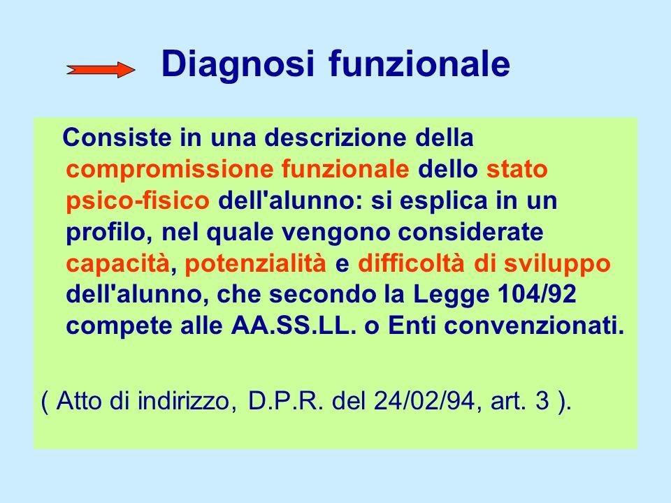 Diagnosi funzionale Consiste in una descrizione della compromissione funzionale dello stato psico-fisico dell'alunno: si esplica in un profilo, nel qu
