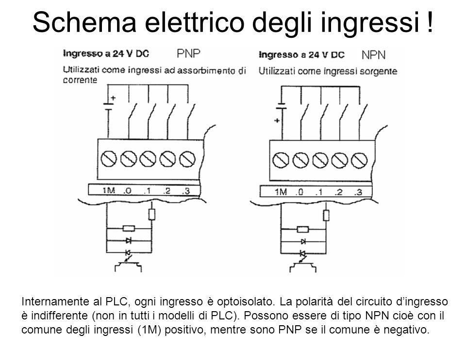 Schema elettrico degli ingressi ! Internamente al PLC, ogni ingresso è optoisolato. La polarità del circuito dingresso è indifferente (non in tutti i