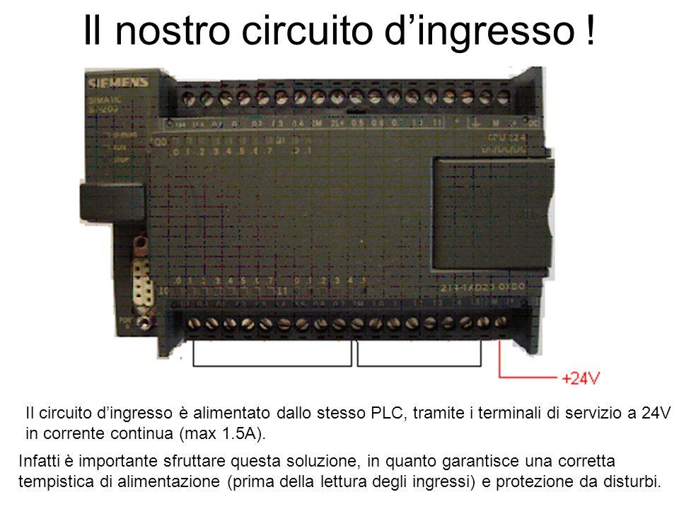 Il nostro circuito dingresso ! Il circuito dingresso è alimentato dallo stesso PLC, tramite i terminali di servizio a 24V in corrente continua (max 1.