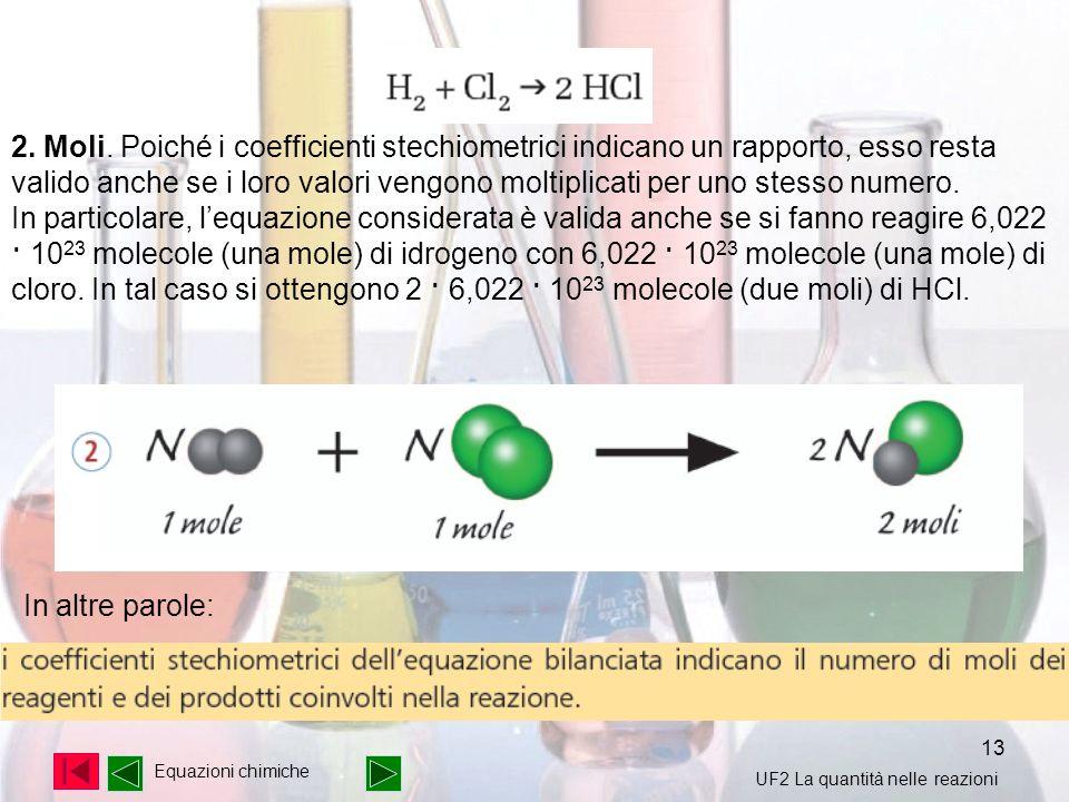 13 2. Moli. Poiché i coefficienti stechiometrici indicano un rapporto, esso resta valido anche se i loro valori vengono moltiplicati per uno stesso nu