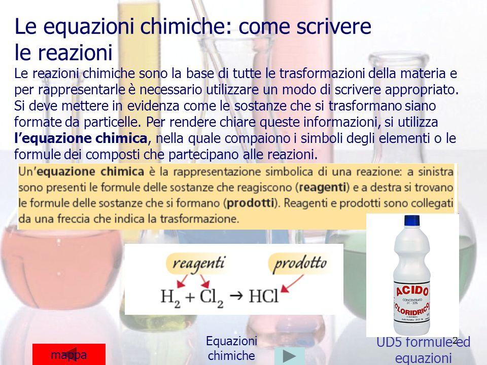 2 UD5 formule ed equazioni mappa Equazioni chimiche Le equazioni chimiche: come scrivere le reazioni Le reazioni chimiche sono la base di tutte le tra
